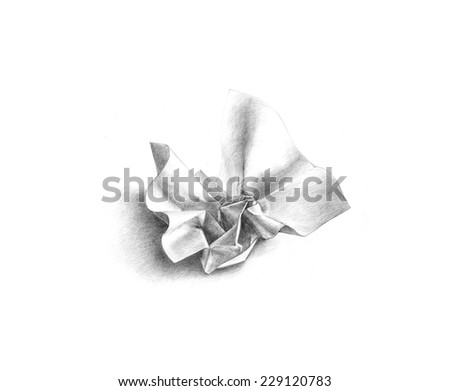 Pencil drawing of crumpled paper on white background. - stock photo