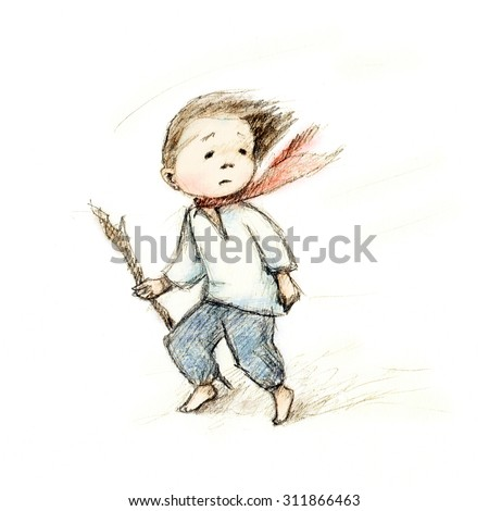 pencil drawing of little boy at the wind - stock photo
