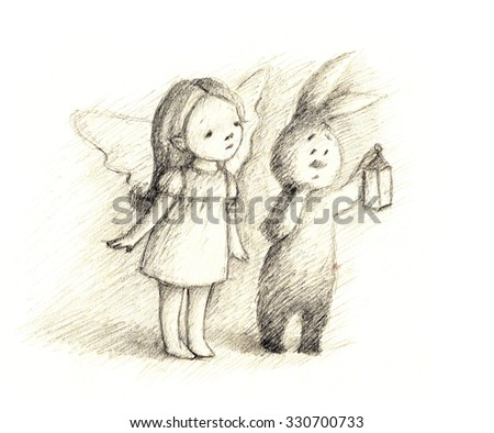 pencil drawing of little fairy and bunny - stock photo