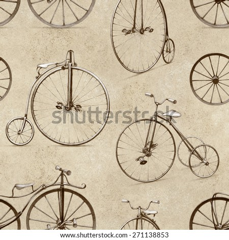 Pencil drawing of retro bicycle. Seamless pattern - stock photo