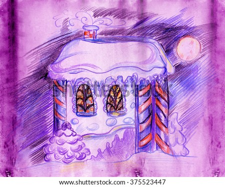 Pencil drawing of the house in the winter, in the windows you can see the Christmas tree - stock photo
