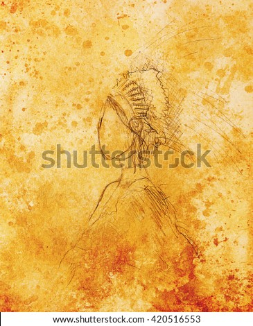 pencil drawing on paper, indian woman  and feathers in hair. Color effect. - stock photo