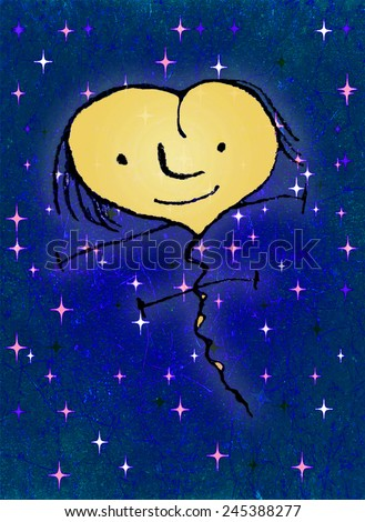 Pencil drawing technique raster illustration fantasy cute heart shaped character flying with happy expression in deep blue sky with stars in background. - stock photo