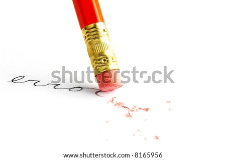 "Pencil erasing an ""error"" - stock photo"