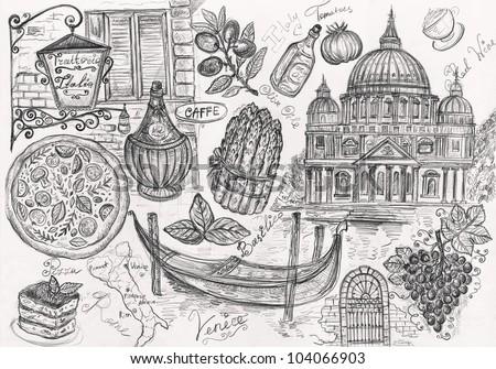 Pencil hand drawn illustration on theme travels - stock photo