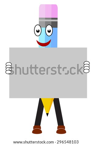 Pencil hands holding blank advertising card - stock photo