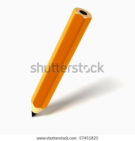 pencil icon on white background - stock photo