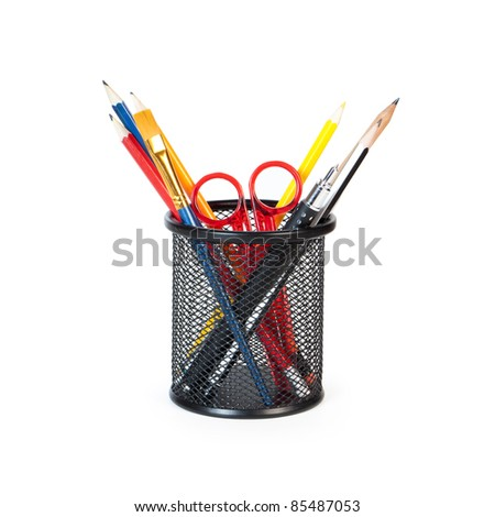 pencil in a glass isolated on white background - stock photo