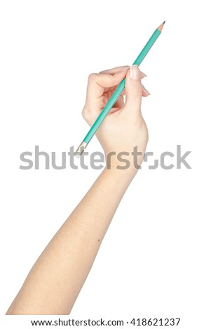 pencil in a hand isolated on white background. school and office tools. stationery - stock photo