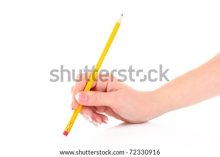 Pencil in hand isolated on white. Erasing - stock photo