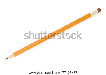 Pencil isolated on pure white background - stock photo
