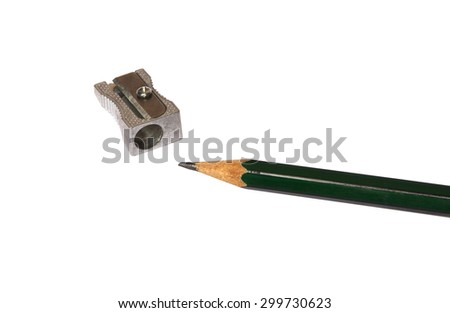 pencil isolated with sharpener - stock photo
