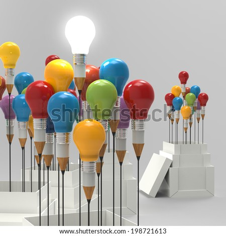pencil light bulb 3d as think outside of the box and leadership as concept  - stock photo