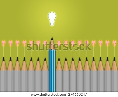 pencil light bulb 3d as think outside of the box as concept - stock photo