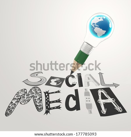 pencil light bulb 3d hand drawn graphic design SOCIAL MEDIA word as concept - stock photo