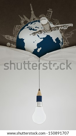 pencil lightbulb draw rope open wrinkled paper show airplane traveling around the world as concept - stock photo