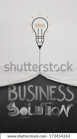 pencil lightbulb draw rope open wrinkled paper show business solution as concept - stock photo