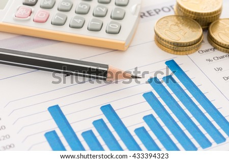 Pencil on financial graph report with money on desk's manager. Concept of business analysis, financial services, financial planning, Business growth. - stock photo