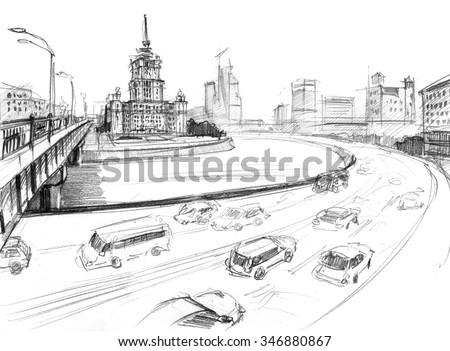 Pencil outline of a Stalin skyscraper in Moscow near river  - stock photo