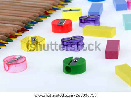 pencil sharpener with - stock photo