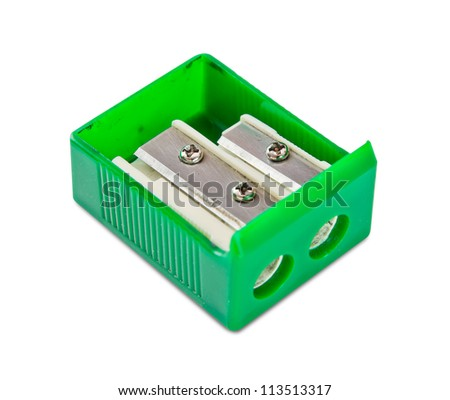 Pencil sharpener with double blade on white background. - stock photo