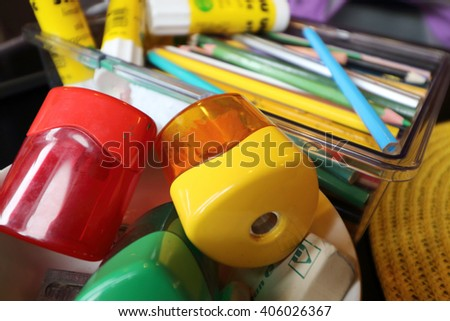 pencil sharpeners on desk table - stock photo