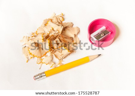 pencil shavings and sharpener , education concept - stock photo