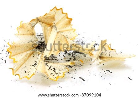 Pencil shavings on a white background - stock photo