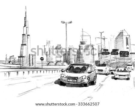 Pencil sketch of a skyline of modern buildings in Dubai, UAE - stock photo