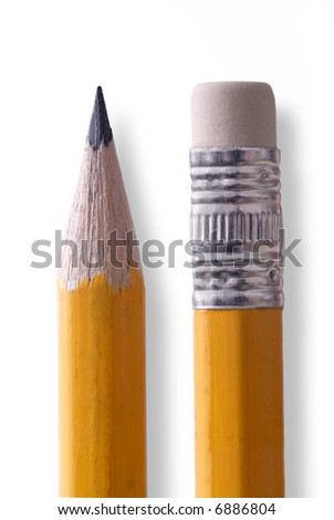 Pencil tip and eraser closeup isolated on white - stock photo