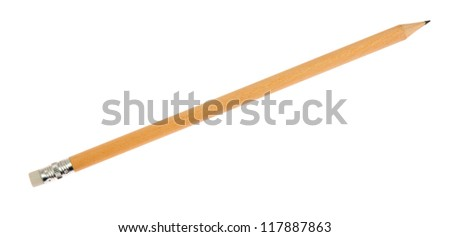 Pencil with eraser, isolated on background - stock photo