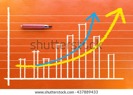 pencil with graph analysis on color background business concept - stock photo