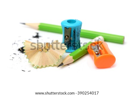 Pencil with sharpener isolated on white background - stock photo