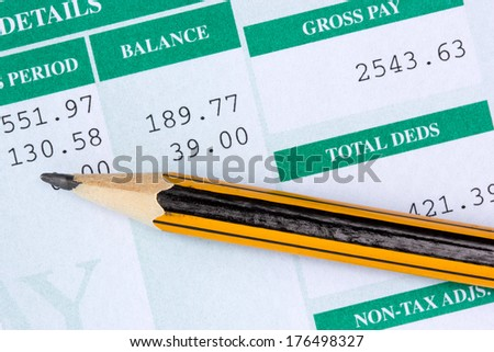 Pencil with the statement of payroll details - stock photo