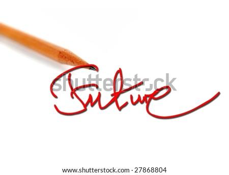 Pencil writing the future word - stock photo