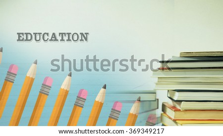 pencils and books, education concept - stock photo
