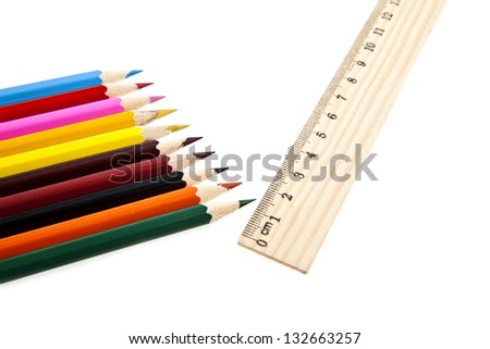 pencils and line on a white background - stock photo