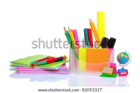 pencils and pens in holder and the line isolated on white - stock photo