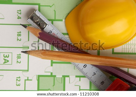 Pencils and roulette on draft - stock photo