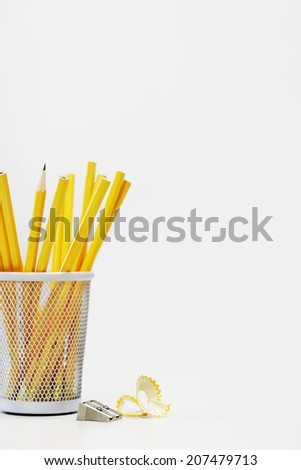 Pencils and Sharpener - stock photo