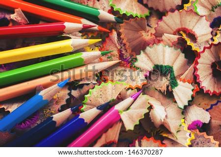 Pencils arranged  - stock photo