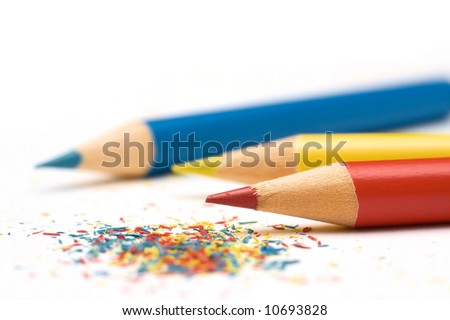 pencils close up on white - stock photo
