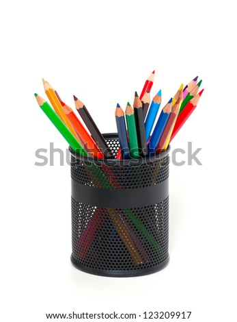pencils in support over white - stock photo