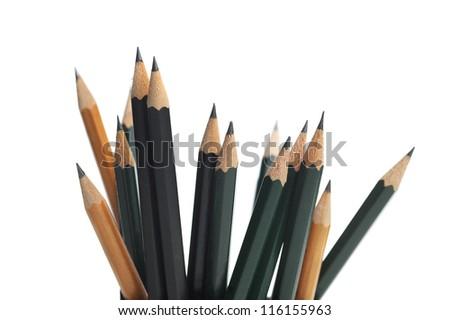 Pencils isolated on white - stock photo