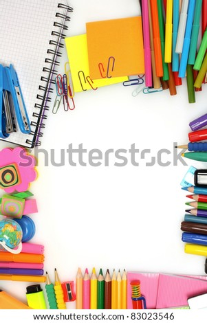 pencils, markers and paper isolated on white - stock photo
