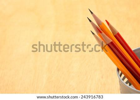 Pencils on desk - stock photo