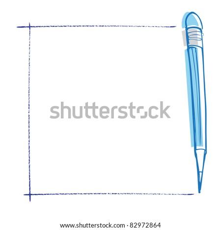 pencils on notepaper (raster version) - stock photo