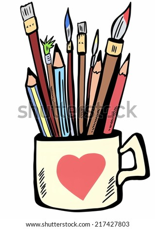 Pencils, pens and brushes to paint the ceramic cup - stock photo