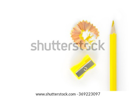 pencils , sharpener shave yellow drawing on white background - stock photo