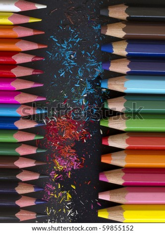 pencils with colorful dust - stock photo